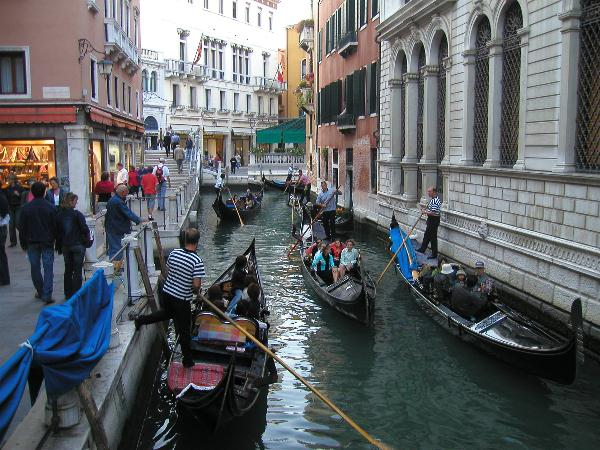 Gondolas On Venice Canal