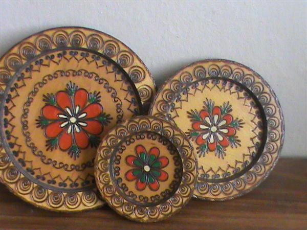 Three Wooden Plates -authentic Folklore From Maramures