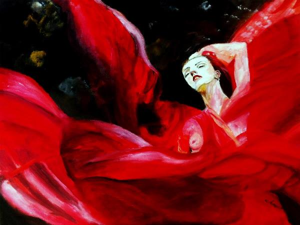Lady In Red Silk