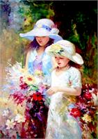 Two Young Girl Picking Up Flower As Poster