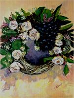 Grapes And White Flower