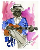Blues Cat As Framed Poster
