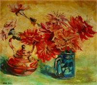 L0018 Teapot And Vase Flowers