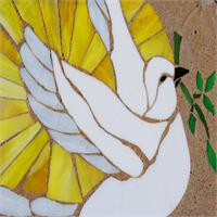 Stain Glass Peace Dove On Stone As Framed Poster