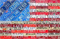 American Flag Vintage License Plate Art