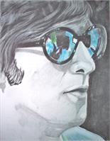John Lennon In Colored Glass As Poster