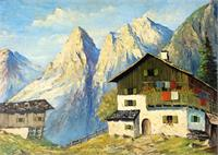 House With Snow Mountain (signed 'W. Muller') On The Right Bottom