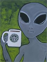 Alien And Coffee As Framed Poster