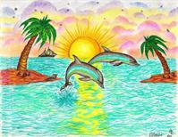 Tropical Dolphins In Paradise