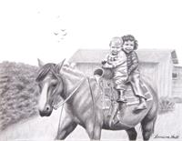 Two Children On Horseback 1943 As Greeting Card
