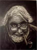 Old Man With Broken Glasses