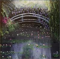 Monet Style Water Lilies With Bridge