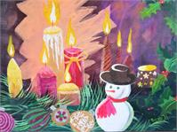 Holiday, Christmas Candles With Snowman And Bulbs