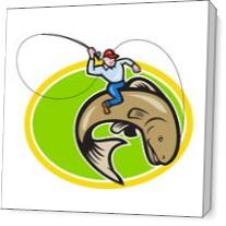 Fly Fisherman Riding Trout Fish Cartoon As Canvas