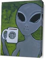 Alien And Coffee As Canvas
