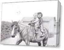 Two Children On Horseback 1943 As Canvas