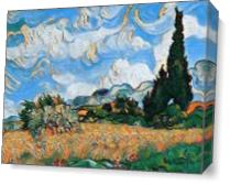 Wheat Field With Cypress View 1 As Canvas