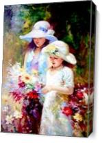 Two Young Girl Picking Up Flower As Canvas