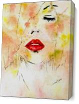 Lady With Red Lips As Canvas