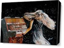 Lady Playing Piano Under Snow As Canvas