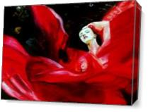 Lady In Red Silk As Canvas