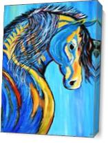 Blue Horse Indian As Canvas