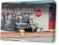 Savannah Bus Stop Photo As Canvas